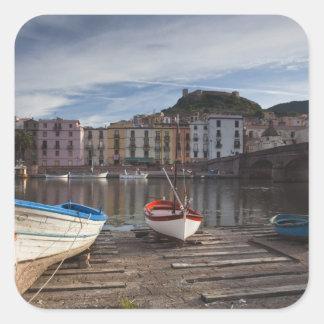 Italy, Sardinia, Bosa. Temo River and Ponte Square Sticker