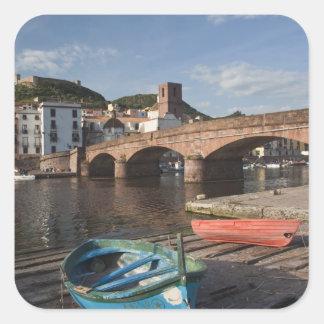 Italy, Sardinia, Bosa. Town view along Temo Square Sticker