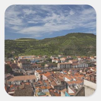 Italy, Sardinia, Bosa. Town view from Castello 2 Square Sticker