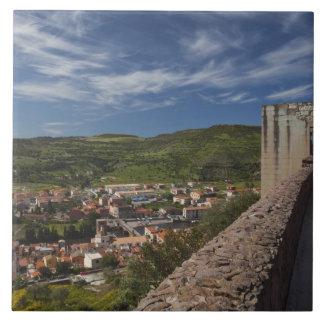 Italy, Sardinia, Bosa. Town view from Castello Ceramic Tile