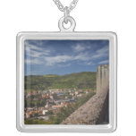 Italy, Sardinia, Bosa. Town view from Castello Square Pendant Necklace