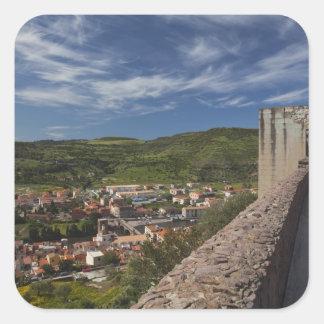 Italy, Sardinia, Bosa. Town view from Castello Square Sticker