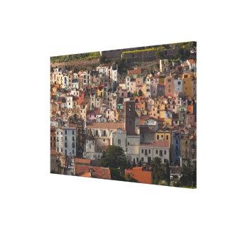 Italy, Sardinia, Bosa. Town view with Castello Canvas Print