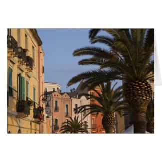 Italy, Sardinia, Cagliari. Buildings and palms Card