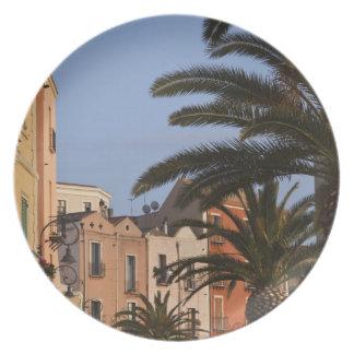 Italy, Sardinia, Cagliari. Buildings and palms Dinner Plate
