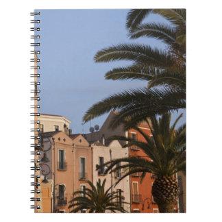 Italy, Sardinia, Cagliari. Buildings and palms Notebook