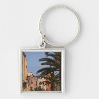 Italy, Sardinia, Cagliari. Buildings and palms Silver-Colored Square Keychain