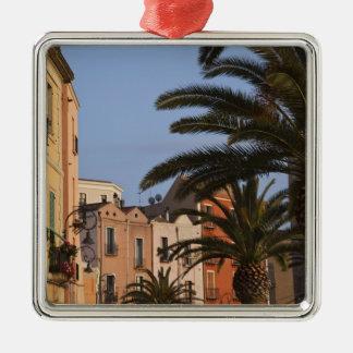 Italy, Sardinia, Cagliari. Buildings and palms Square Metal Christmas Ornament