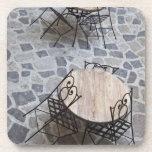 Italy, Sardinia, Castelsardo. Cafe tables. Coaster