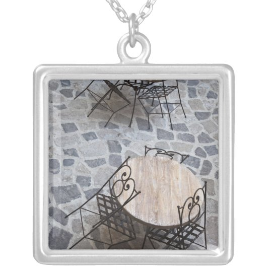 Italy, Sardinia, Castelsardo. Cafe tables. Silver Plated Necklace