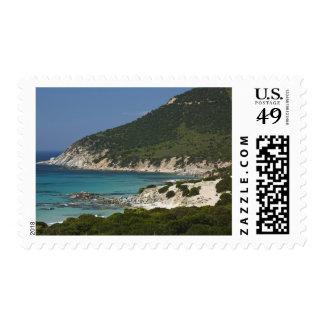 Italy, Sardinia, Solanas. Beach. Postage Stamp
