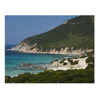 Italy, Sardinia, Solanas. Beach. Postcard