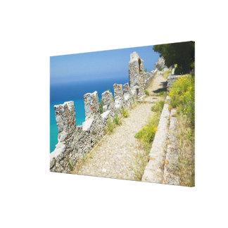 Italy, Sicily, Cefalu, Cliffside Walkway, La Canvas Print