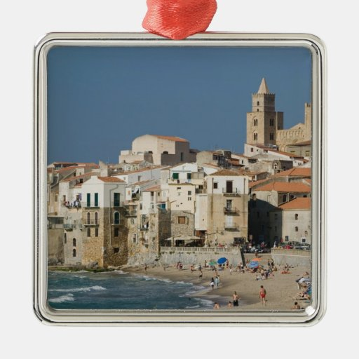 Italy, Sicily, Cefalu, Town View with Duomo from Square Metal Christmas Ornament