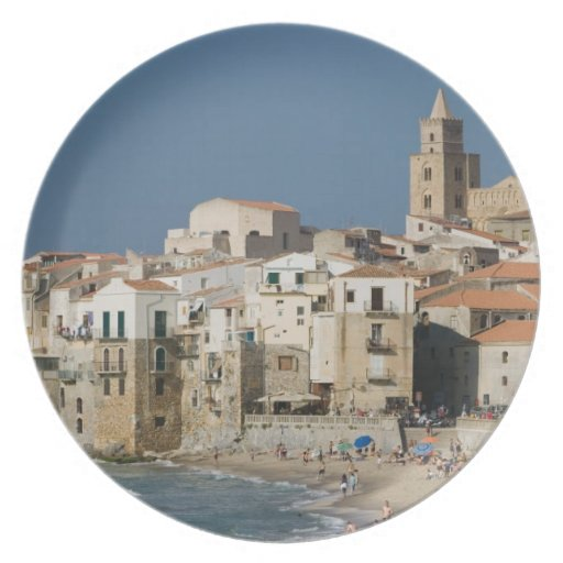 Italy, Sicily, Cefalu, Town View with Duomo from Plate