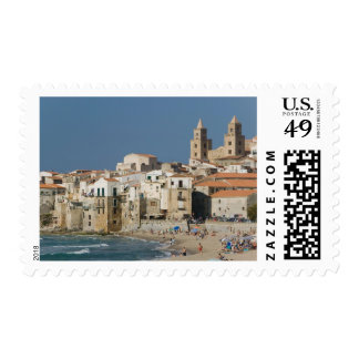 Italy, Sicily, Cefalu, Town View with Duomo from Postage Stamp