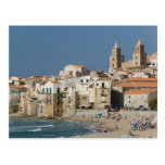Italy, Sicily, Cefalu, Town View with Duomo from Postcard