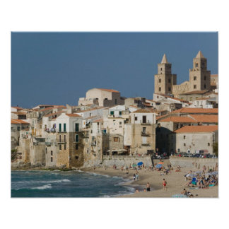 Italy, Sicily, Cefalu, Town View with Duomo from Poster