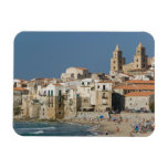 Italy, Sicily, Cefalu, Town View with Duomo from Magnets