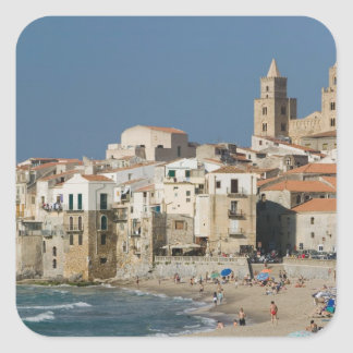 Italy, Sicily, Cefalu, Town View with Duomo from Square Sticker