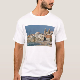 Italy, Sicily, Cefalu, Town View with Duomo from T-Shirt