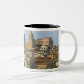 Italy, Sicily, Cefalu, View with Duomo from 2 Two-Tone Coffee Mug
