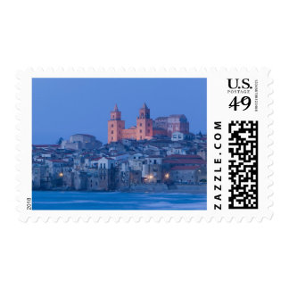 Italy, Sicily, Cefalu, View with Duomo from Postage