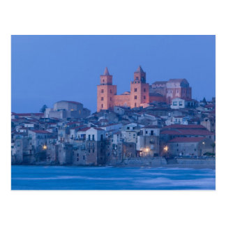 Italy, Sicily, Cefalu, View with Duomo from Post Card