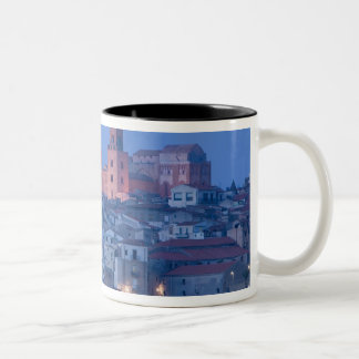 Italy, Sicily, Cefalu, View with Duomo from Two-Tone Coffee Mug