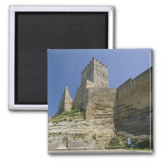 Italy, Sicily, Enna, Calascibetta, Castello di 2 Inch Square Magnet