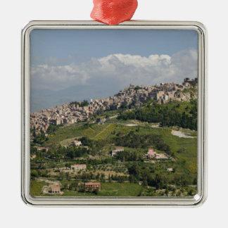 Italy, Sicily, Enna, Calascibetta, Morning View Metal Ornament