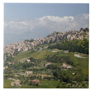Italy, Sicily, Enna, Calascibetta, Morning View Tile
