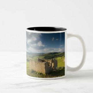 Italy, Sicily, Enna, Pergusa, Old Farmhouse Two-Tone Coffee Mug