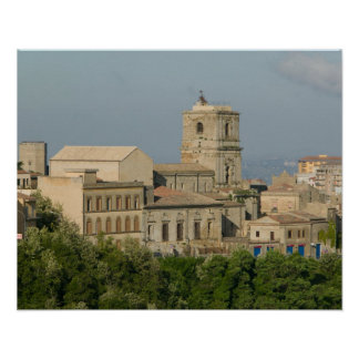 Italy, Sicily, Enna, Town View from Rocca di 2 Poster