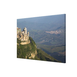 Italy, Sicily, Enna, Town View from Rocca di Canvas Print