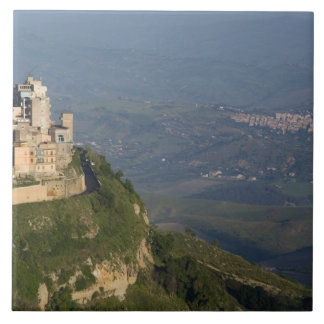 Italy, Sicily, Enna, Town View from Rocca di Ceramic Tile