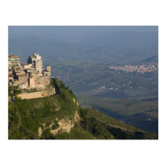 Italy, Sicily, Enna, Town View from Rocca di Postcard