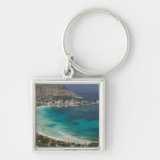 Italy, Sicily, Mondello, View of the beach from Keychain