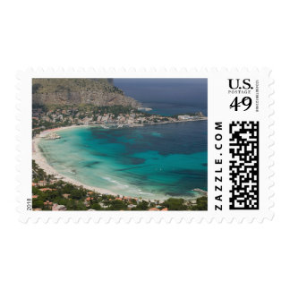Italy, Sicily, Mondello, View of the beach from Postage