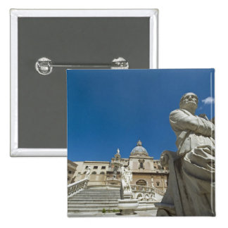 Italy, Sicily, Palermo, fountain with bust and Pinback Button
