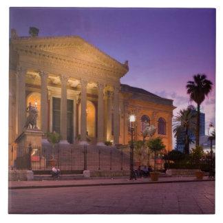 Italy, Sicily, Palermo, Teatro Massimo Opera Large Square Tile