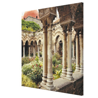 Italy, Sicily, Palermo. The cloisters survive as Gallery Wrap Canvas