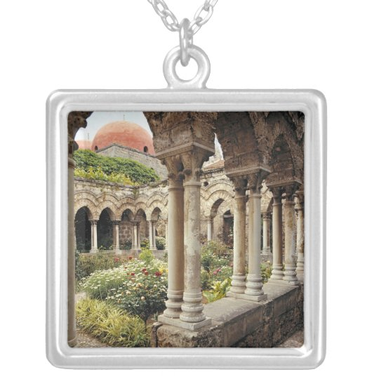 Italy, Sicily, Palermo. The cloisters survive as Silver Plated Necklace