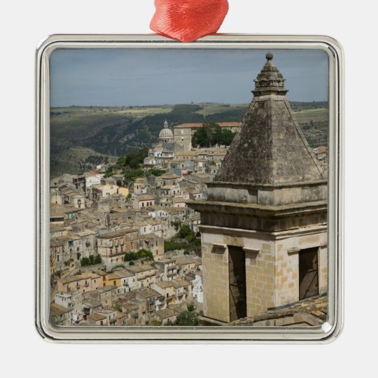 ITALY, Sicily, RAGUSA IBLA: Town View and Santa Metal Ornament