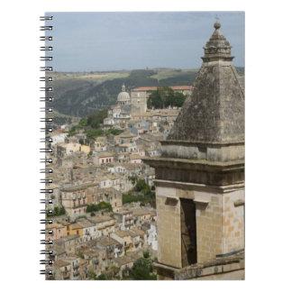 ITALY, Sicily, RAGUSA IBLA: Town View and Santa Spiral Notebook