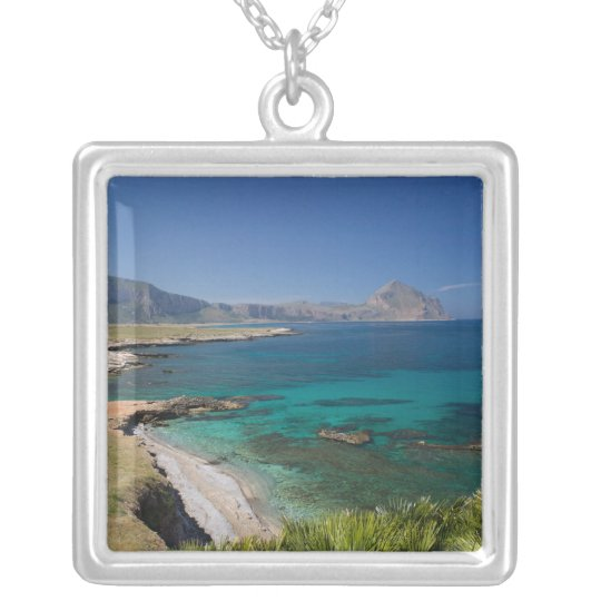 Italy, Sicily, San Vito Lo Capo, View of Gulf of Silver Plated Necklace