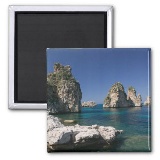 Italy, Sicily, Scopello, Rocks by Tonnara 2 Inch Square Magnet