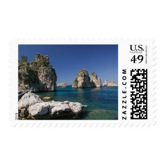 Italy, Sicily, Scopello, Rocks by Tonnara Postage