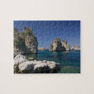 Italy, Sicily, Scopello, Rocks by Tonnara Puzzle