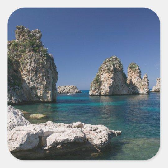 Italy, Sicily, Scopello, Rocks by Tonnara Square Sticker
